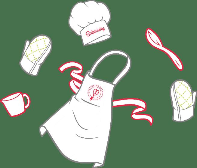 Baketivity illustration of bakes hat and apron