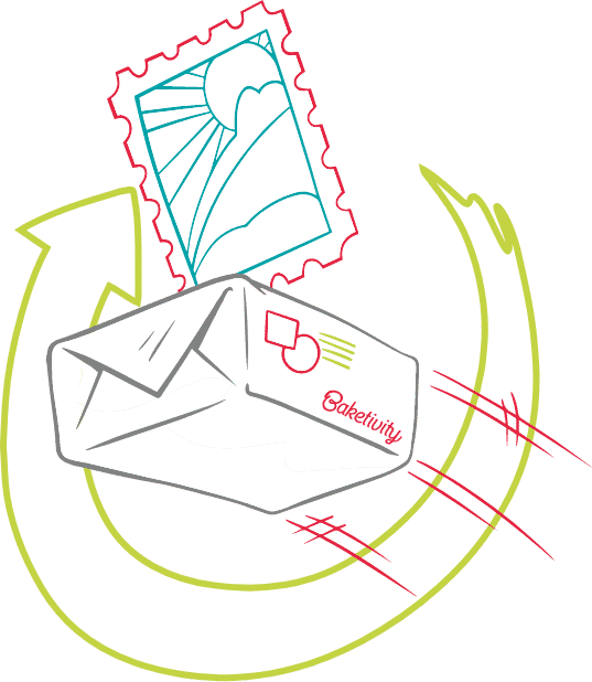 Baketivity illustration of subscription box in the mail