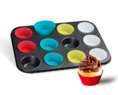 12 Cupcake Holder Non-Stick Carbon Steel Pan